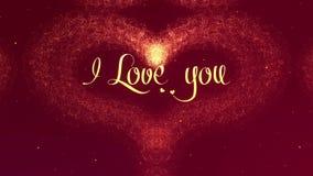 Te amo confesi?n del amor El coraz?n del d?a de tarjeta del d?a de San Valent?n hizo de chapoteo de oro est? apareciendo r ilustración del vector