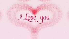 Te amo confesi?n del amor El coraz?n del d?a de tarjeta del d?a de San Valent?n hizo de chapoteo rosado est? apareciendo r stock de ilustración