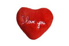 Te amo corazón de la felpa Foto de archivo libre de regalías