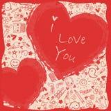 Te amo - corazones - colección de los garabatos stock de ilustración