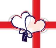 Te amo - corazones con la cinta Fotografía de archivo libre de regalías