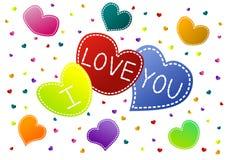 Te amo corazones Valentine Card Foto de archivo libre de regalías