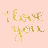 Te amo dé la caligrafía exhausta del texto para la tarjeta de felicitación de Valentine Day Fotografía de archivo
