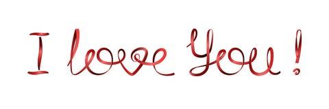 ¡Te amo! Declaraciones del amor de la inscripción de cintas rojas Foto de archivo