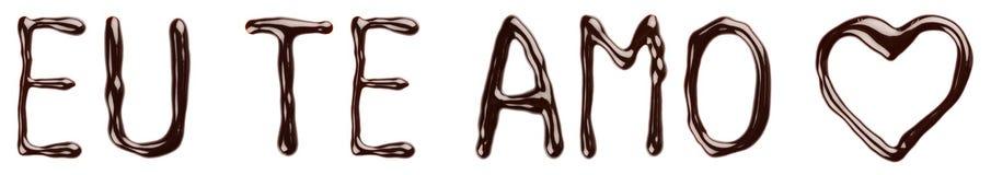 Te AMO dell'Eu del cioccolato Fotografia Stock