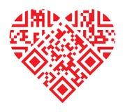 Te amo dimensión de una variable roja del corazón del código de QR libre illustration