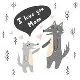 Te amo ejemplo del vector de la mamá con los lobos lindos ilustración del vector