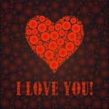 Te amo el texto y el corazón firman, diseñado con los puntos Imagen de archivo