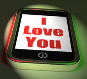 Te amo en el teléfono las exhibiciones adoran romance Fotografía de archivo