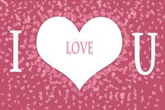 Te amo en fondo rosado del modelo del corazón Imágenes de archivo libres de regalías