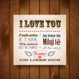 Te amo en siete idiomas Foto de archivo