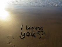 Te amo escrito en arena Fotografía de archivo