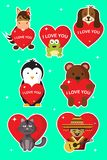 Te amo etiquetas engomadas y ejemplos para el día de San Valentín stock de ilustración