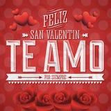 Te Amo Feliz San Valentin Royaltyfri Foto