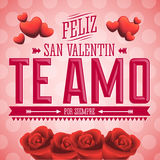 Te Amo Feliz San Valentin - I Love You Happy Valentines Day spanish text. Flowers vector card design stock illustration
