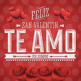 Te Amo Feliz San Valentin Royalty Free Stock Photo