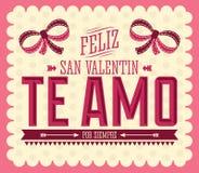 Te Amo Feliz San Valentin. I Love You Happy Valentines Day spanish text - vector card design Royalty Free Stock Photo
