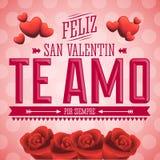 Te Amo Feliz San Valentin - jag älskar dig lycklig text för valentindagspanjor Arkivfoto