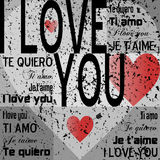 Te amo [Grunge gris] Imagen de archivo