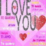 Te amo [Grunge rosado] Fotografía de archivo libre de regalías