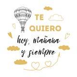 Te amo hoy, mañana y para siempre texto español, bandera del vector para el día de tarjetas del día de San Valentín del St, fecha libre illustration