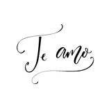Te amo - i love you in Spanish language. Modern calligraphy for Valentine`s day card.  Stock Photo