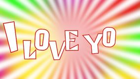 Te amo - la inscripción se compone de letras en un fondo colorido brillante almacen de video