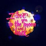 Te amo a la luna y a la parte posterior caligráficas ilustración del vector