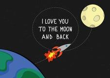 Te amo a la tarjeta de la cita de la luna y de la parte posterior Fotografía de archivo