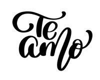 Te Amo love you Spanish text calligraphy vector lettering for Valentine card. Vector illustration for photo overlays, t. Shirt print, flyer, poster design, mug vector illustration