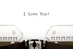 Te amo máquina de escribir fotografía de archivo