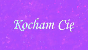 Te amo mande un SMS en Kocham polaco Cie en fondo púrpura Fotografía de archivo