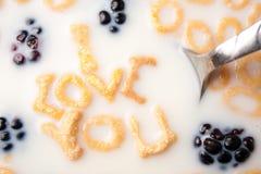 Te amo mensaje del desayuno Foto de archivo libre de regalías