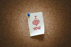 Te amo nota Foto de archivo