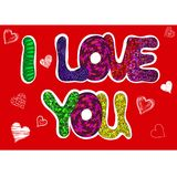 Te amo palabras fijadas para la tarjeta de felicitación Foto de archivo libre de regalías