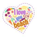 Te amo playa Forma del corazón de la historieta Imágenes de archivo libres de regalías