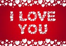 Te amo pone letras a endecha plana con los corazones del papel del vector Imagen de archivo libre de regalías