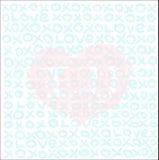 Te amo símbolo del corazón de la inscripción Letras de XOXO Día de tarjeta del día de San Valentín Ilustración del Vector