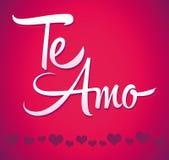 Te Amo - Spaanse liefde u die van letters voorzien - kalligrafie Royalty-vrije Stock Afbeeldingen