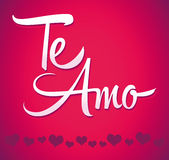 Te Amo - spanish love you lettering - calligraphy. Scalable and editable vector illustration - easy edit Royalty Free Stock Images