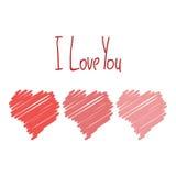 Te amo tarjeta con el cartel aislado dibujado mano roja de los corazones Imagen de archivo libre de regalías