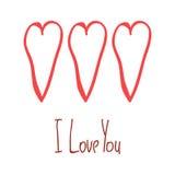 Te amo tarjeta con el cartel aislado dibujado mano roja de los corazones Fotografía de archivo