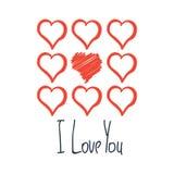 Te amo tarjeta con el cartel aislado dibujado mano roja de los corazones Fotos de archivo