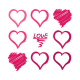 Te amo tarjeta con el cartel dibujado mano roja de los corazones Imagenes de archivo