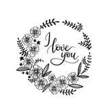 Te amo tarjeta de felicitación de las letras de la mano Caligrafía moderna Imagen de archivo