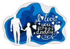 Te amo tarjeta de felicitación de la caligrafía del papá Arte de papel Imagen de archivo
