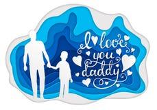 Te amo tarjeta de felicitación de la caligrafía del papá Arte de papel Foto de archivo