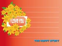 Te amo tarjeta del día de tarjetas del día de San Valentín con las flores Imágenes de archivo libres de regalías