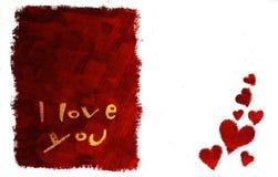 Te amo tarjeta (horizontal) Fotografía de archivo