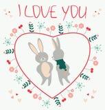 Te amo Tarjeta romántica con illustratio de los amantes de los conejos de los pares Fotos de archivo libres de regalías